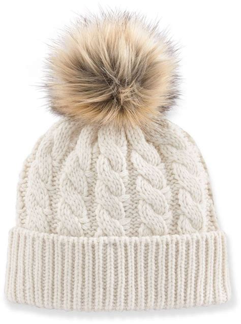 cable knit pom pom hat madden faux fur pom pom cable knit beanie hat a