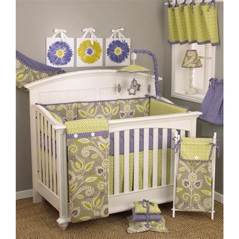 bedding nursery sets cotton tale designs periwinkle floral 4 crib bedding set pw4s the home depot