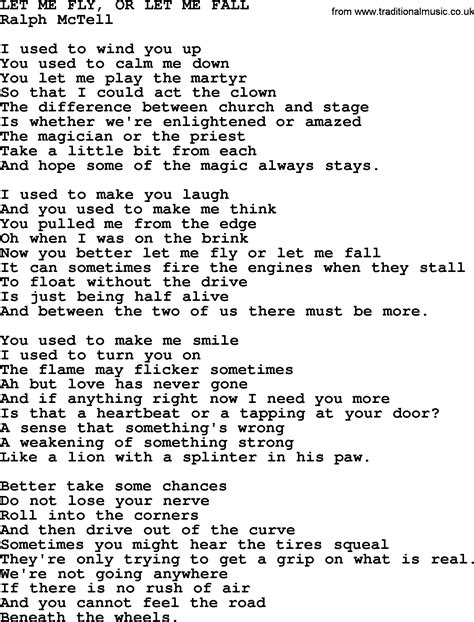 Or Lyrics Let Me Fly Or Let Me Fall Txt By Ralph Mctell Lyrics And Chords