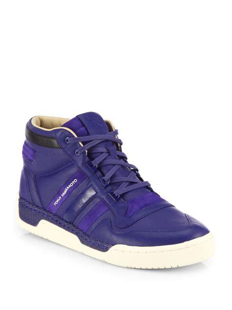 purple high top sneakers y 3 courtside ii high top sneakers in purple for lyst