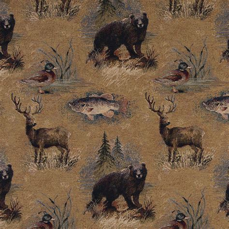 wildlife upholstery fabric bears fish ducks deer and trees themed tapestry upholstery