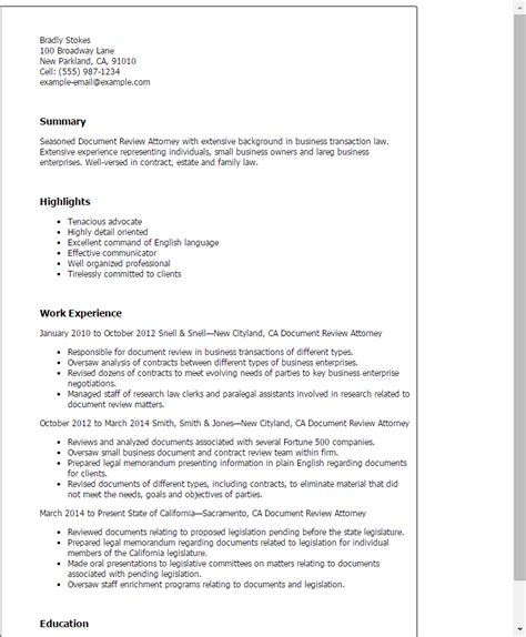 Resume Template Reviews professional document review attorney templates to