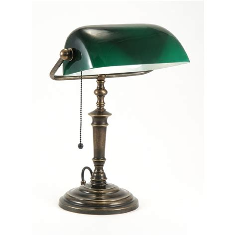 Traditional Bankers Desk L With Green Shade Table Lights