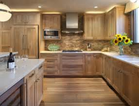 kitchen with wooden tile backsplash contemporary