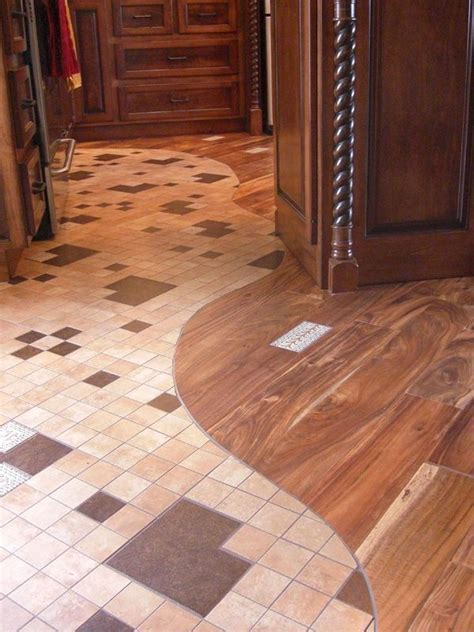 Another awesome combination of hardwood and tile flooring