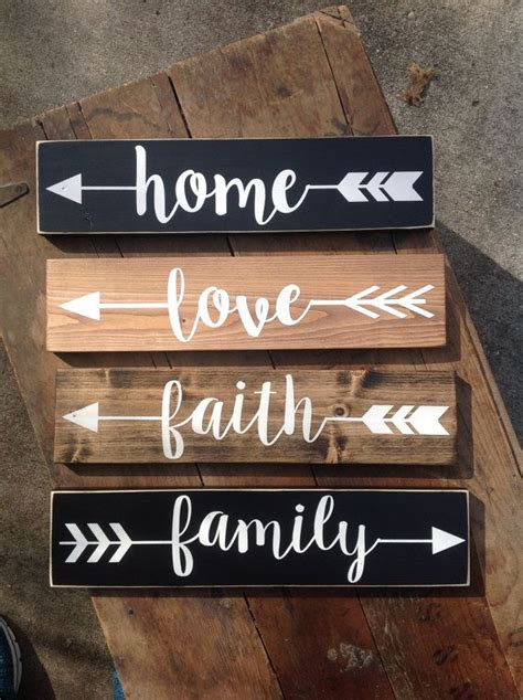 word signs home decor rustic wood arrow words one 15 each great for