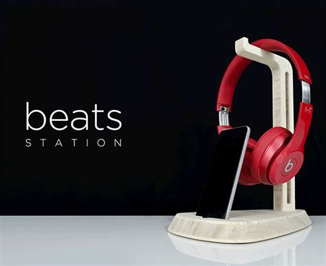 wooden headphone stands beats  dre station
