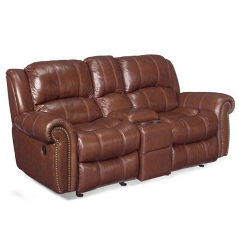 Leather Reclining Sofa With Console Furniture Seven Seas Leather Reclining Sofa With Console Ss601 E3 087