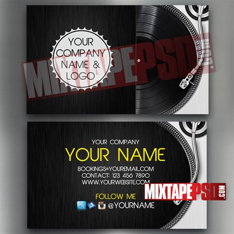 dj business card template 8 mixtapepsd com