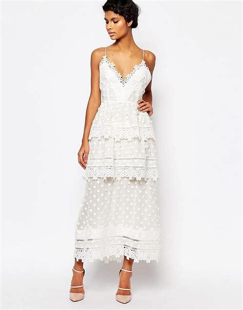 43798 White Trim Dress self portrait portrait lace trim midi dress with