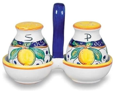 mediterranean salt and pepper shakers and mills houzz umbria italian lemons salt and pepper with tray