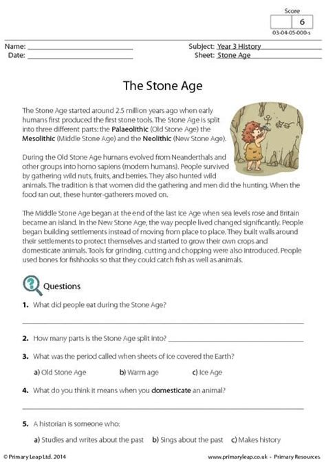free printable reading comprehension worksheets ks2 uk primaryleap co uk reading comprehension the stone age
