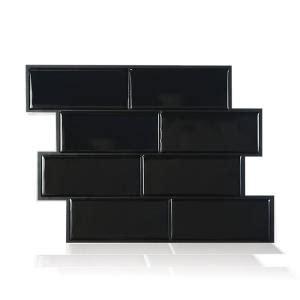 smart tiles metro grigio 11 56 in w x 8 38 in h peel and stick decorative mosaic wall tile smart tiles metro nero 11 56 in w x 8 38 in h black peel