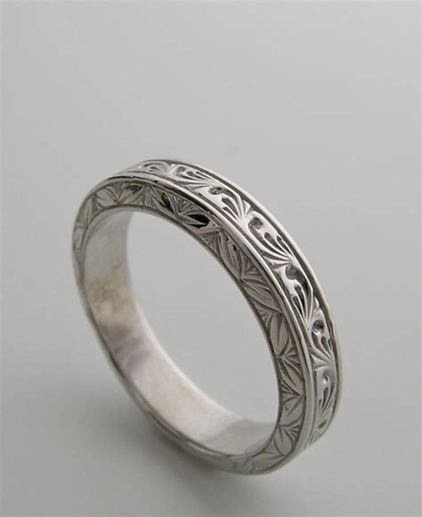 engraved wedding band ring deco antique vintage style