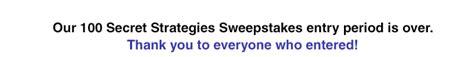 Secret Sweepstakes - 100 secret strategies sweepstakes monroe and main blog