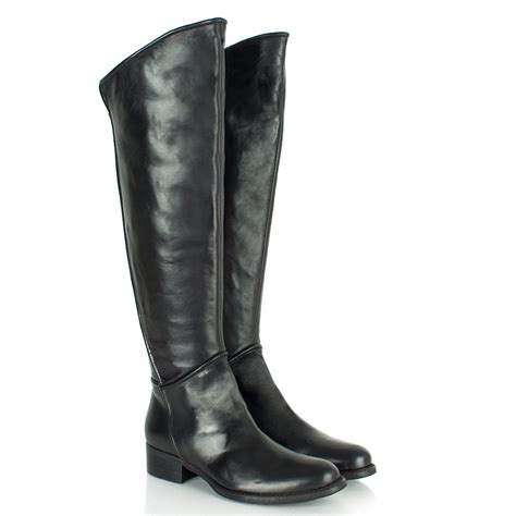 daniel black leather evale womens flat knee boot