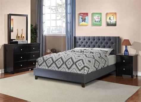 blue modern bedroom furniture set f9371 bedroom set by w blue grey fabric upholstered bed