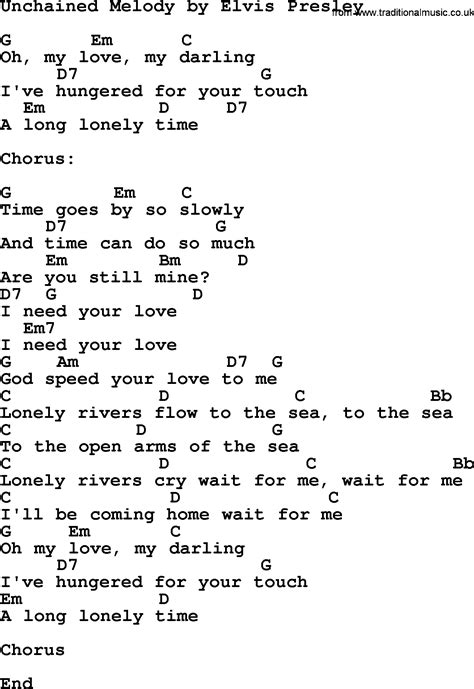 melody lyrics unchained melody by elvis lyrics and chords