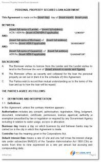 Secured Loan Template by Simple And Secured Loan Agreement Personal Loan Template
