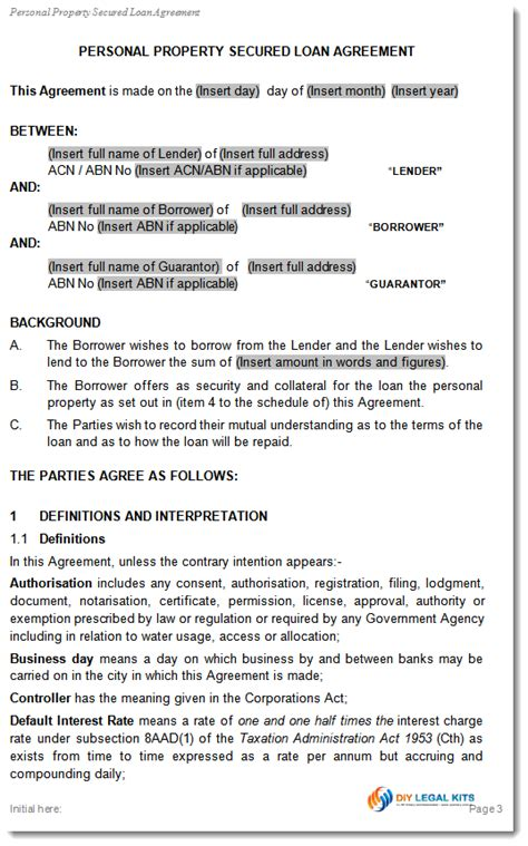 Secured Loan Agreement Template simple and secured loan agreement personal loan template