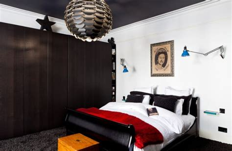 ingenious bedroom in black and red with a wall mounted 50 sleigh bed inspirations for a cozy modern bedroom