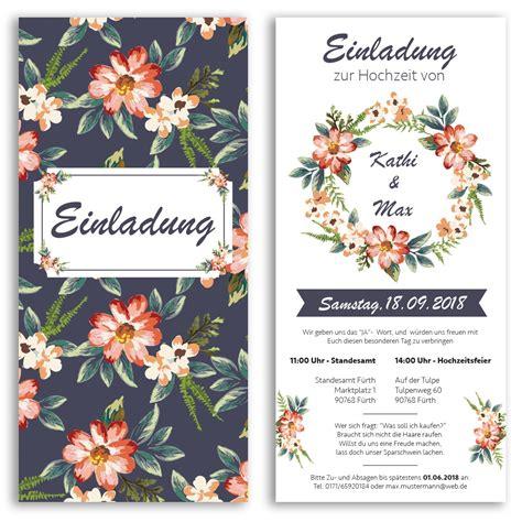 Hochzeitseinladungen Bestellen by Hochzeitseinladungen Mit Blumenmotiv Bestellen