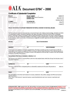 substantial completion form free fill online printable