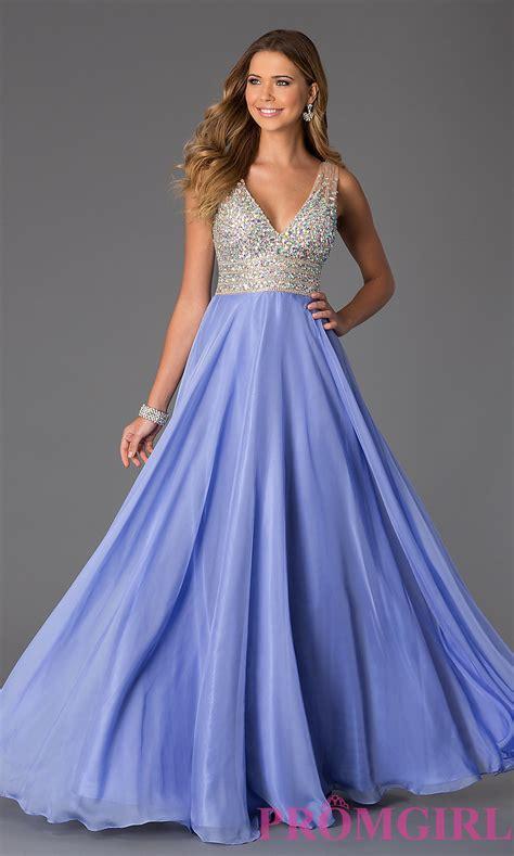 sleeveless floor length v neck dress promgirl