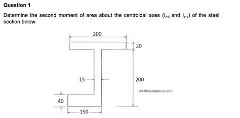 second moment of area i section solved question 1 determine the second moment of area abo