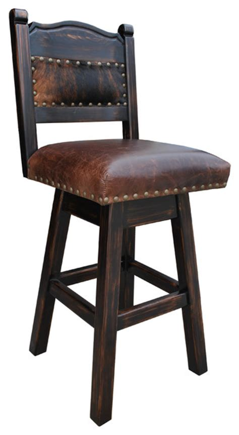 southwestern bar stools hacienda swivel bar stool cowhide 30 quot bar height