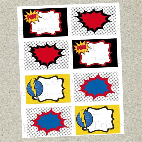 buffet name tag design superhero printable table labels buffet cards diy 4