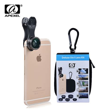apexel universal clip 5 in 1 lens kit for iphone samsung xiaomi smart phones lenses