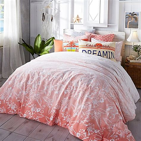 hibiscus bedding hang ten ombre hibiscus comforter set in coral bed bath