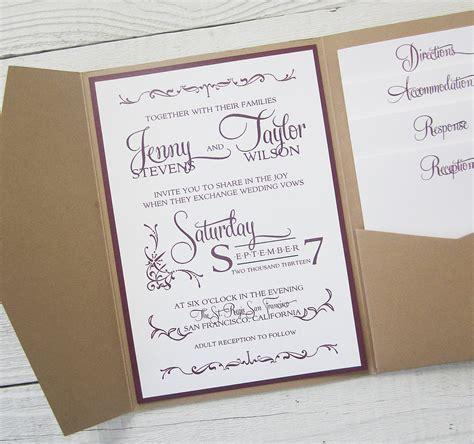 folding book invitations for a pocket fold invitation template ideas for wedding