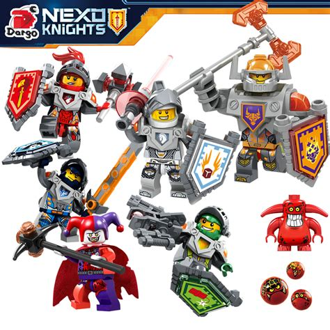 Figure 6pcs 343 2016 6pcs lot nexo knights royal soldier lance crust smasher minifigures s cycle