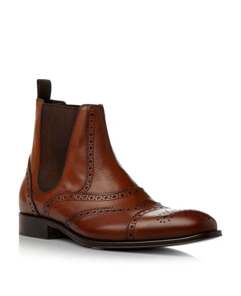 brogue chelsea boots mens dune carriage 1 brogue chelsea boots in brown for