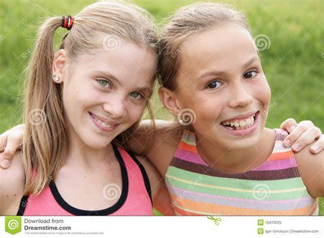 pre teen hub cheerful happy girls royalty free stock photo image