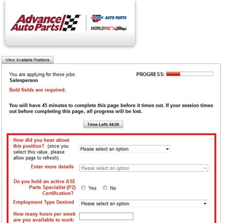 how to apply for advance auto parts jobs online at