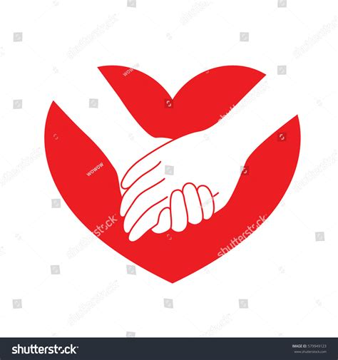 flat design icon heart holding hands on red heart icon stock vector 579949123