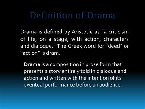 definition of style introduction to drama