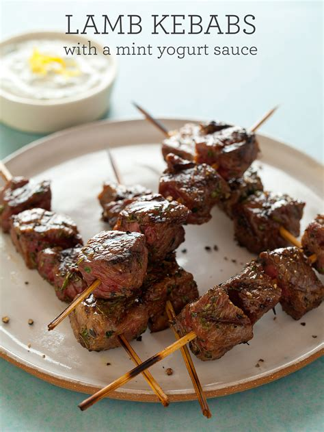 lamb kebabs lamb kebabs with a mint yogurt sauce spoon fork bacon