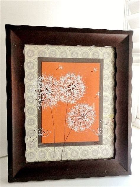 brown and orange home decor original framed painted dandelions on orange home decor gray white art gift orange and