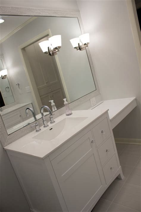 vanity and make up counter transitional bathroom