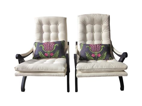 Table 4 Chaises 4216 by Tufted Lounge Chairs With Custom Pillow A Pair Chairish
