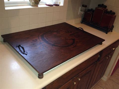 electric cooktop cover cooktop cover plywood spindles stain and inspiration