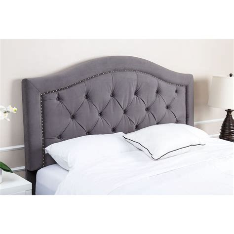 abbyson hillsdale tufted grey velvet headboard eastern