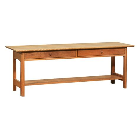 modern shaker 2 drawer low console wood coffee table