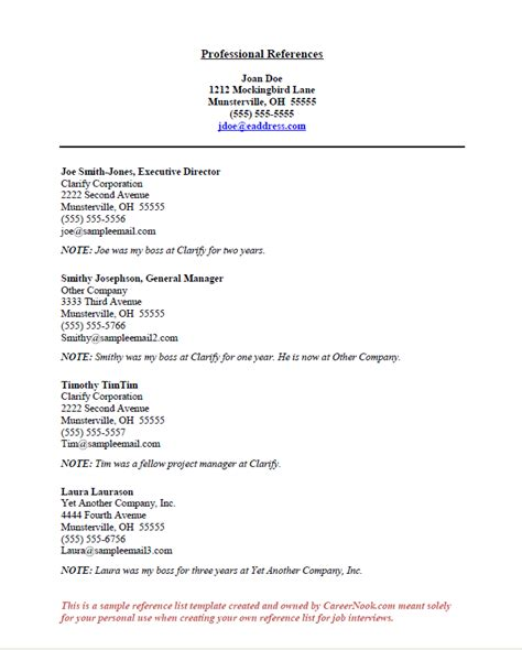 .resume reference template fitted picture list references on page