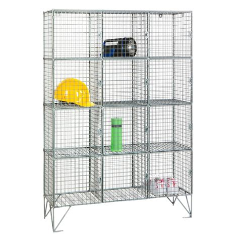 wire mesh locker with 12 compartments shelving industrial