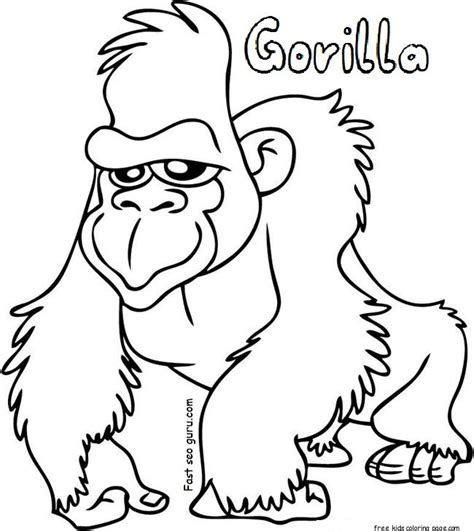 coloring page for gorilla gorilla coloring sheets free printable for kidsfree